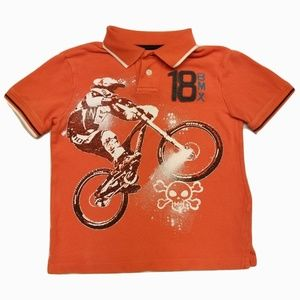 BMX Bike & Skull Orange Polo -OshKosh